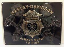 Ande Rooney HARLEY DAVIDSON GAUGES Tin Firemen Firefighter HD Fire Sign  New