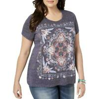 Style & Co Women's Plus Size Glitter Graphic T-Shirt Top,