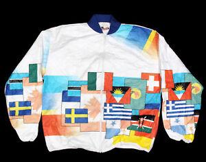 Vtg 90s Jacket Tyvek World Flags Natonal International Windbreaker sz L /593