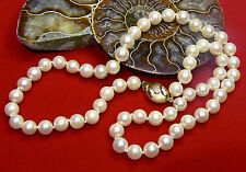 AAA AKOYA SALTWATER CREAM PEARL NECKLACE 14K GOLD DIAMOND 6.5-7mm 18""
