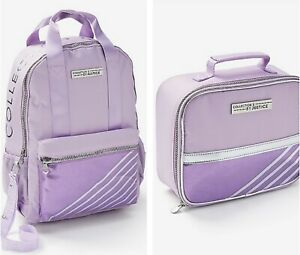 NWT Justice Girls Justice Lilac Stripe Backpack & Lunchbox  Set - Collection X