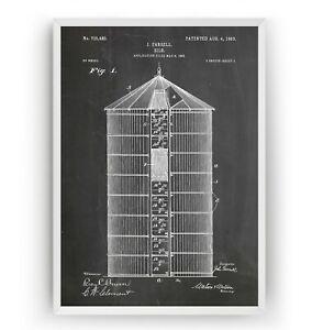 Silo 1903 Patent Print - Farm House Poster Wall Art Gift Farming - Unframed