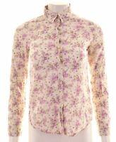 BENETTON Womens Shirt Size 6 XS White Floral Cotton Loose Fit  EN12