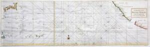 c1750 Large Sea Chart PACIFIC OCEAN Spanish Galleons Philippines Mexico (LM12)