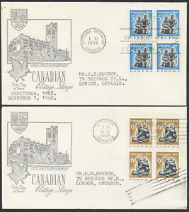 1968 #488-489 Two Christmas FDCs, Blocks, Middlesex Stamp Circle Cachets