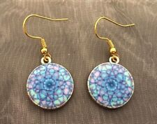 Funky Gold Plated Boho Bohemian Blue Hippy Hippie Patterned Round Drop Earrings