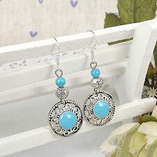 Cute New Tibetan Silver Turquoise Enamel & Bead Charm Dangle Drop Earrings
