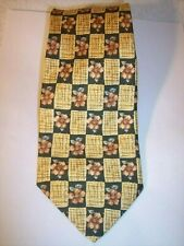 """Burberrys Silk Necktie Pink Floral on Yellow/Green 58"""" by 3.5""""."""