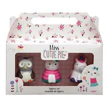 Girls Lipgloss Trio Set By Miss Cutie Pie Unicorn Cat & Owl Hand Painted Kids