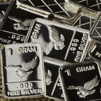 """Eagle"" Design. Lot of 10, 1 gram .999 Fine silver bullion bar. Great Gift! NEW!"