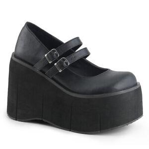"Demonia KERA-08 Black 4 1/2"" Platform Goth Punk Lolita Double Strap Mary Jane"