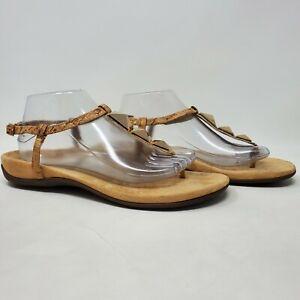 Vionic Orthaheel NALA Embellished Cork T-Strap Sandals GOLD Sz 10 42