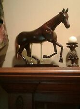 "Horse Figurine Large Art Decor Mannequin 16"" + Ht  Carved Mahogany Wood Model"