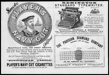 1892 Antique Print - ADVERTISING Players Navy Cut Remington Parisian   (93)