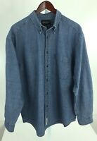 Eddie Bauer Mens Large Blue Denim Long Sleeve Button Front Shirt R-40