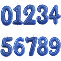 7cm Glitter Number Candles Royal Blue Number 0-9  Birthday Party Candle Cake UK