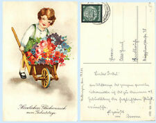 Young Girl Wheelbarrow Flowers Happy Birthday 1934 Germany Art Postcard - Child