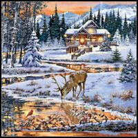 Snowy Cabin - Chart Counted Cross Stitch Pattern Needlework Xstitch craft DIY