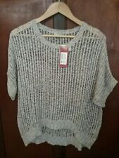 TARGET Sz20 Womens Ladies Knitwear Sloppy Top Round Neck White / Iron Color BNWT