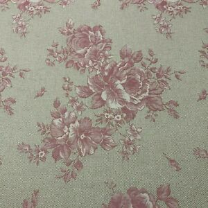 Belle Rose Jacquard Linen Woven Floral Fabric in Cherry | Upholstery Curtains