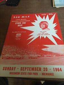 1964 September 20th USAC Stock Car Racing Program Milwaukee Mile State Fair Park