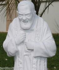 Statue, Saint Padre Pio en pierre reconstituée, ton pierre blanche