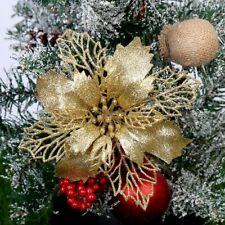 Christmas Poinsettia Glitter Gold Flower Tree Hanging Xmas Party Decor Home New
