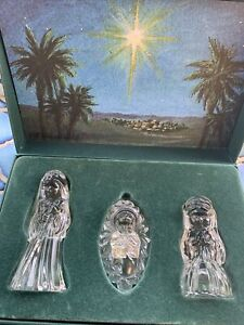 marquis waterford crystal nativity in box set of 3 Joseph Mary & Jesus