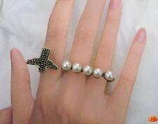 Bague 3 Doigts Fashion  Messia  Perles Nacrées Oiseau Métal Couleur Bronze