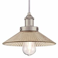 1 Light Retro Pendant Bonnie Brushed Nickel with Antique Ribbed Mirror Glass