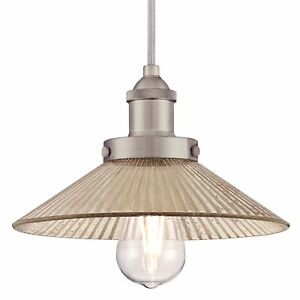 1 Bulb Light Fitting Pendant Bonnie Brushed Nickel with Ribbed Mirror Glass