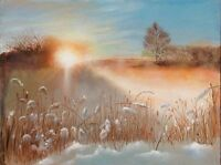 """Modern Beauty, Large """"40x50"""" Oil Painting Landscape """"POETRY OF SUNRISE"""", Italy"""