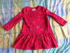 George Girls Merry Christmas Red Long Sleeve Drop Waist Dress Size 18-24 Months