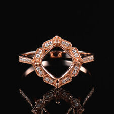 Cushion 8mm Natural Diamond Semi Mount Ring Prong Setting Solid 14K Rose Gold