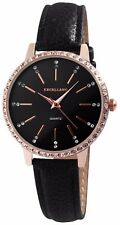 Damenuhr Armbanduhr Roségoldfarbig Steinbesatz Armband schwarz 195031000239