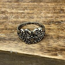 Silver Tone Butterfly Cut Out Filigree Bobble Ring Size O