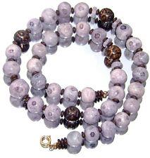 Vintage Designer Lavender Coral Necklace Bronze Chinese Shou Beads 1980s