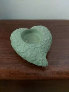 Green Shabby  Chic  ceramic tea light holder.11cm x 12cm x 5cm