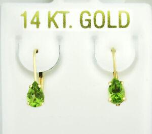 GENUINE 0.82 Cts PERIDOT DANGLING EARRINGS 14K YELLOW GOLD * Free Certificate *