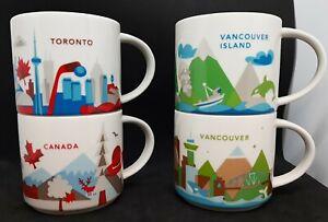Starbucks You Are Here 4 Mug Lot -Canada, Toronto, Vancouver, Van. Island- 14 oz