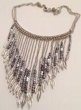 collier vintage couleur argent cascade de perle cristal argent et diamant 408