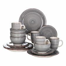 vancasso Bella Dinnerware Set 16-Piece Gray Stoneware Dishes Plates Bowls Mugs