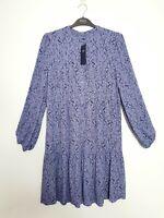 M&S (UK Size 8) Mini Ditsy Print Purple Tunic Floaty Dress Long Sleeves RRP £45