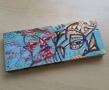"Drawing Painting on Wood 8.5"" Original Art Modern OUTSIDER GRAFFITI Graf EAO"