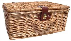 Natural Wicker Traditional Gift Hamper Basket with Lid - 36cm MEDIUM