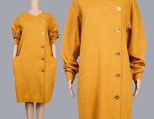 Vintage 80s 90s mustard gold wool sweater knit dress oversize mod minimalist M