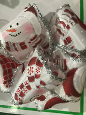 """Extra Wide 2.5"""" 6,3cm Wired Edged Ribbon Snowmen with Silver Glitter Edging"""