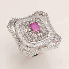 Natural Burmese Ruby White Topaz Boho Ring SilverTone Women Wedding Fine Jewelry