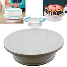White Rotating Cake Decorating Turntable Platform Dessert Display Stand
