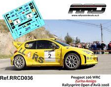 DECAL/CALCA 1/43; Peugeot 206 WRC; Zurita-Amigo; Rallysprint Open d'Avia 2008